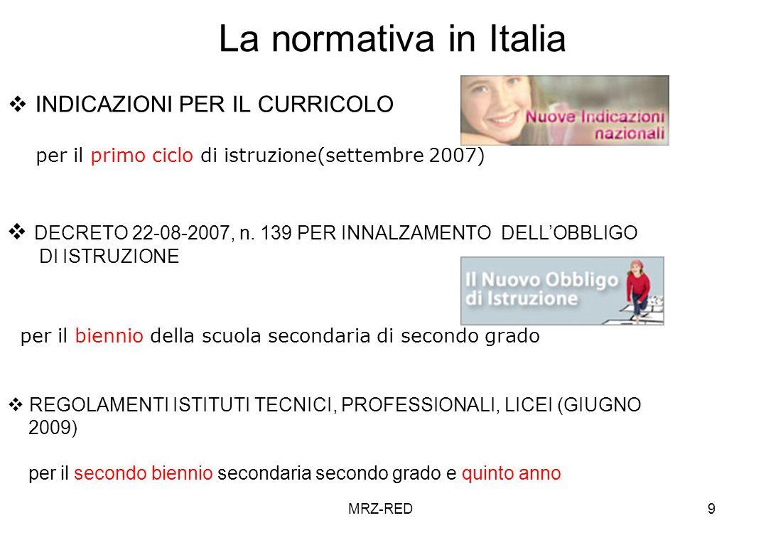 La normativa in Italia INDICAZIONI PER IL CURRICOLO