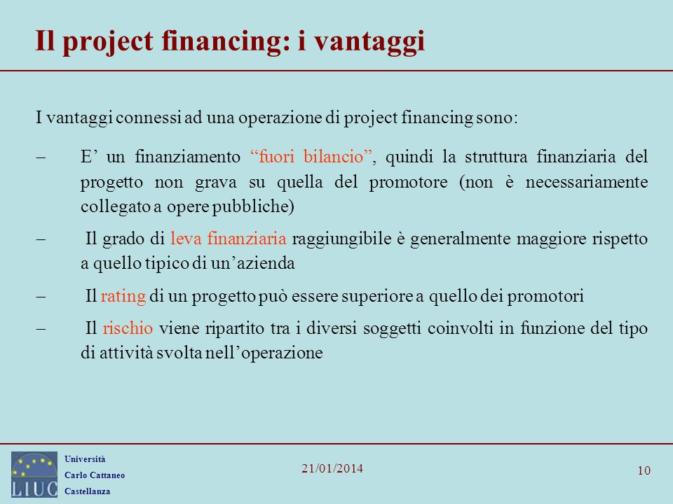 Il project financing: i vantaggi