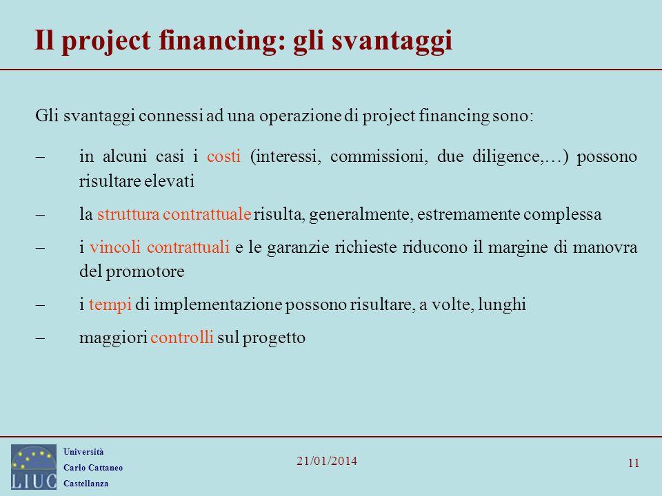 Il project financing: gli svantaggi