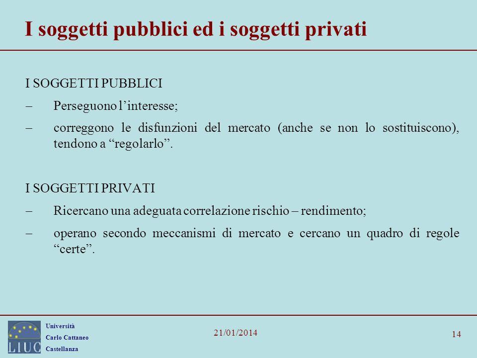 I soggetti pubblici ed i soggetti privati