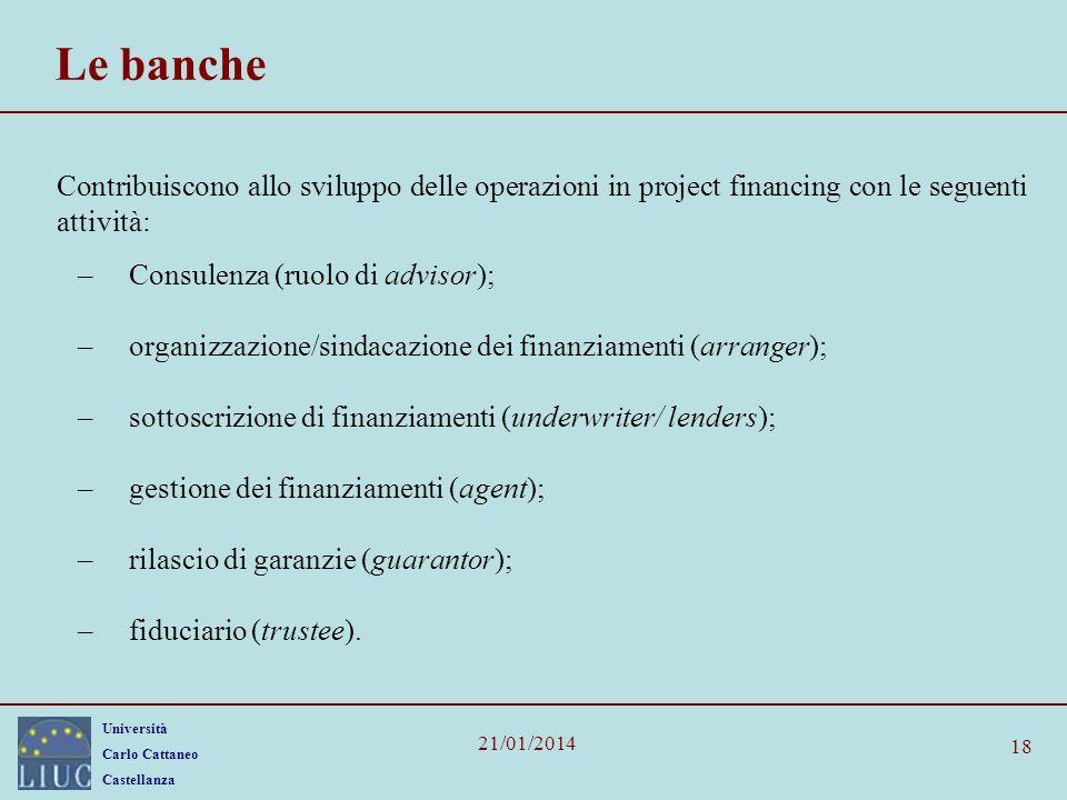 Le banche Contribuiscono allo sviluppo delle operazioni in project financing con le seguenti attività: