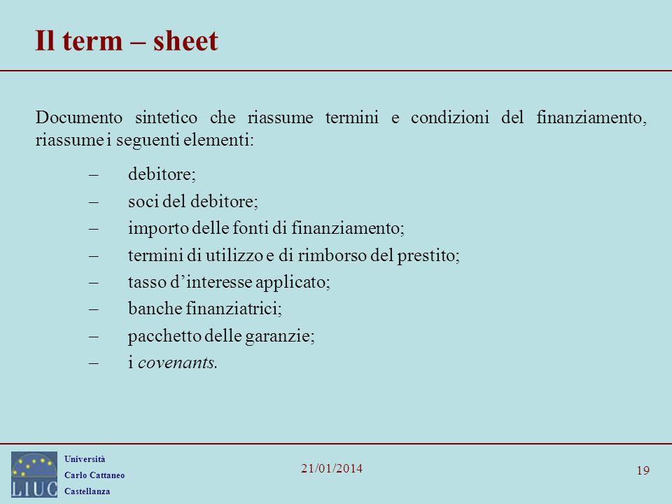 Il term – sheet Documento sintetico che riassume termini e condizioni del finanziamento, riassume i seguenti elementi: