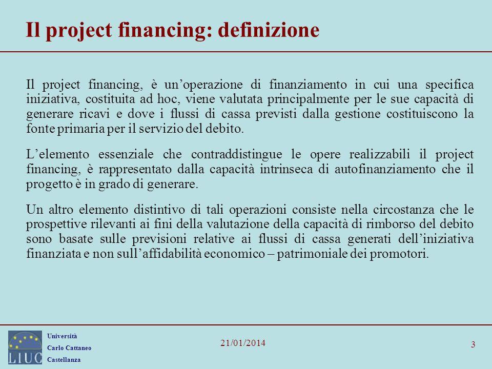 Il project financing: definizione
