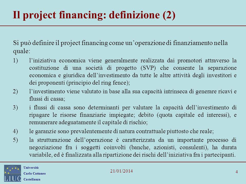 Il project financing: definizione (2)