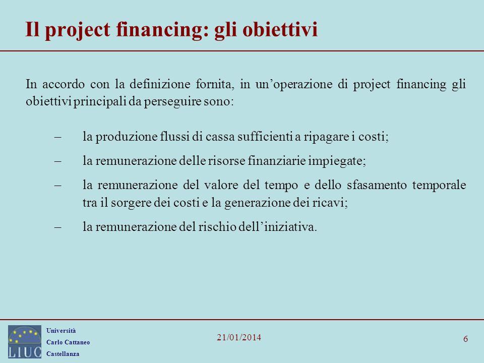 Il project financing: gli obiettivi