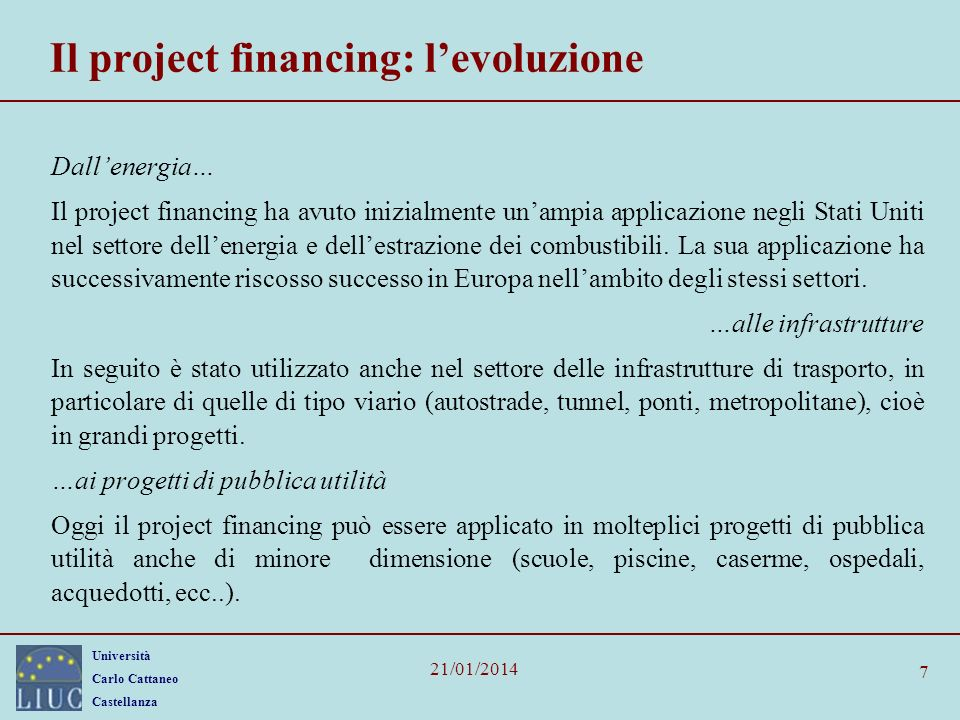 Il project financing: l'evoluzione