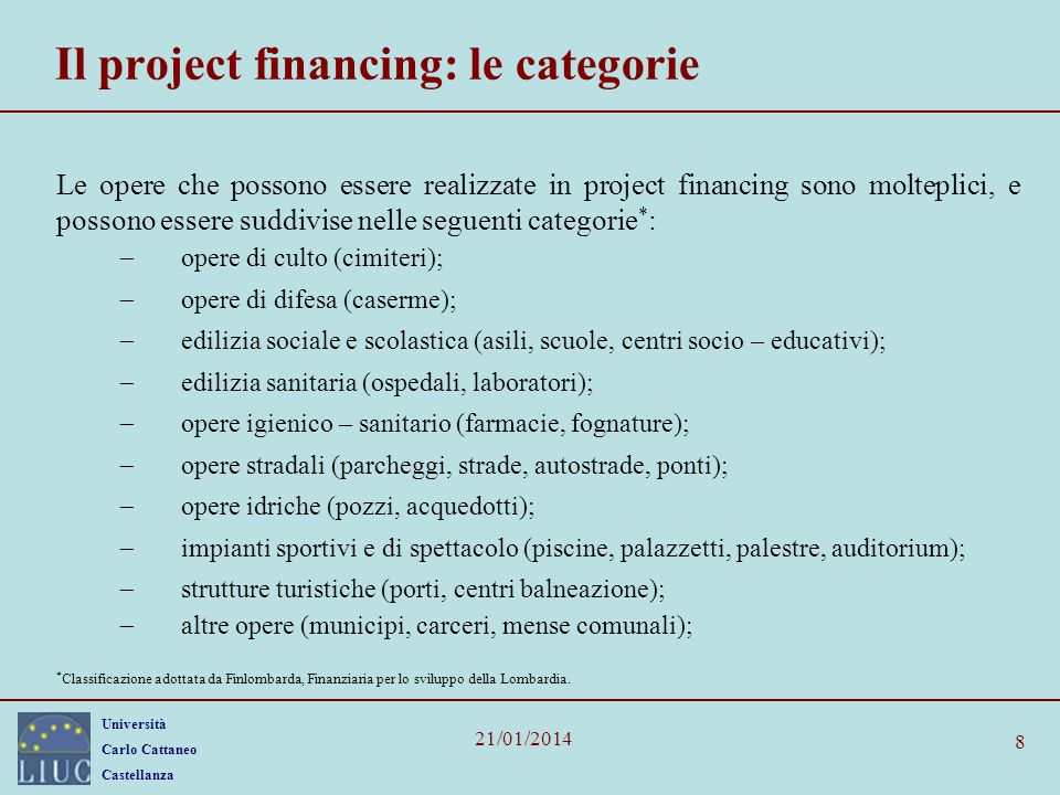 Il project financing: le categorie