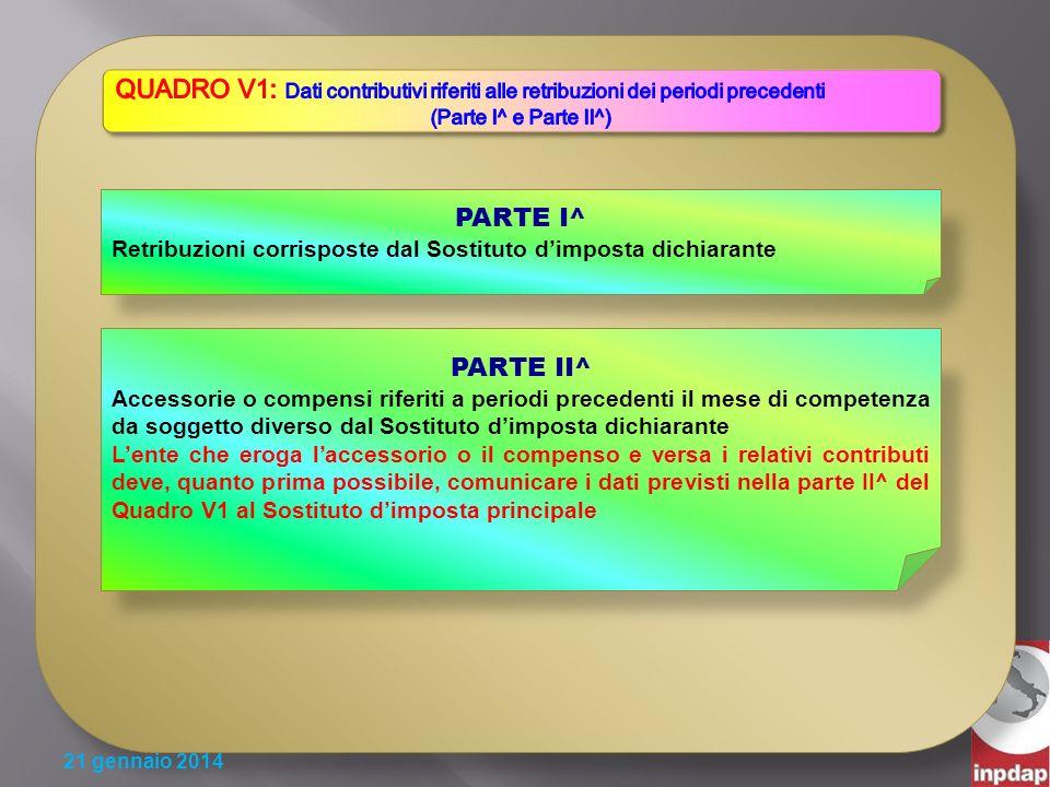 QUADRO V1: Dati contributivi riferiti alle retribuzioni dei periodi precedenti