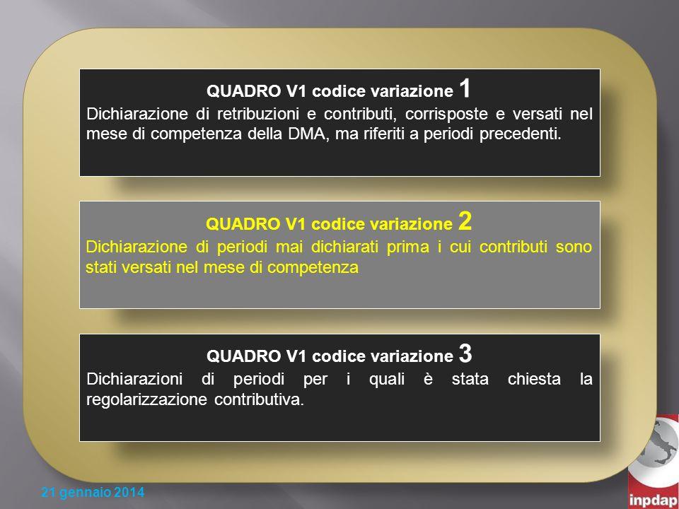 QUADRO V1 codice variazione 1