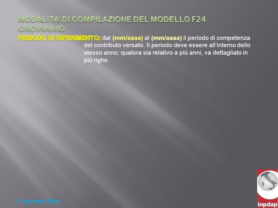 MODALITA' DI COMPILAZIONE DEL MODELLO F24 ORDINARIO