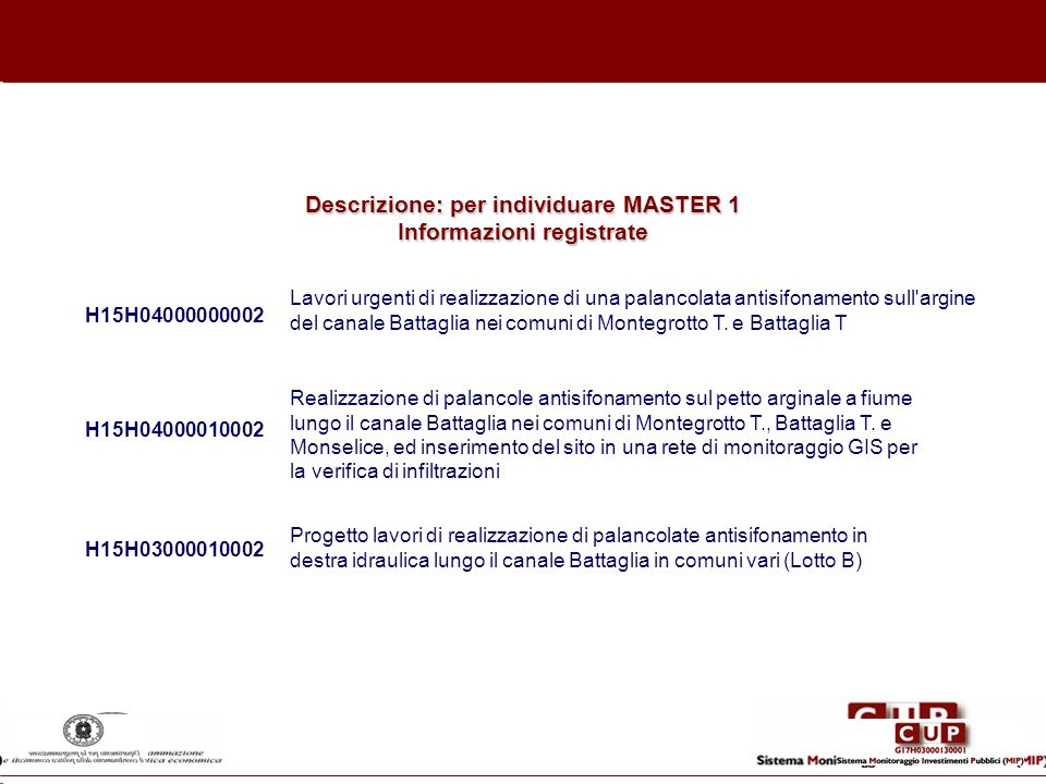 Descrizione: per individuare MASTER 1 Informazioni registrate