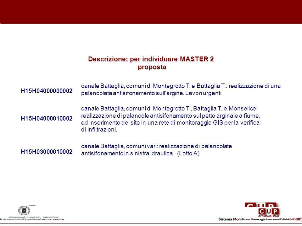 Descrizione: per individuare MASTER 2