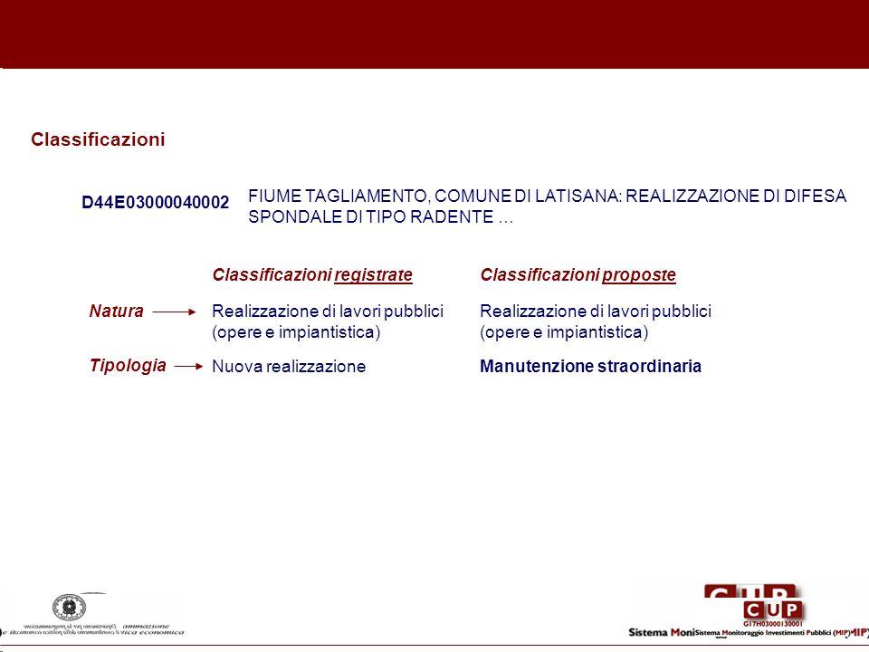 Classificazioni FIUME TAGLIAMENTO, COMUNE DI LATISANA: REALIZZAZIONE DI DIFESA SPONDALE DI TIPO RADENTE …