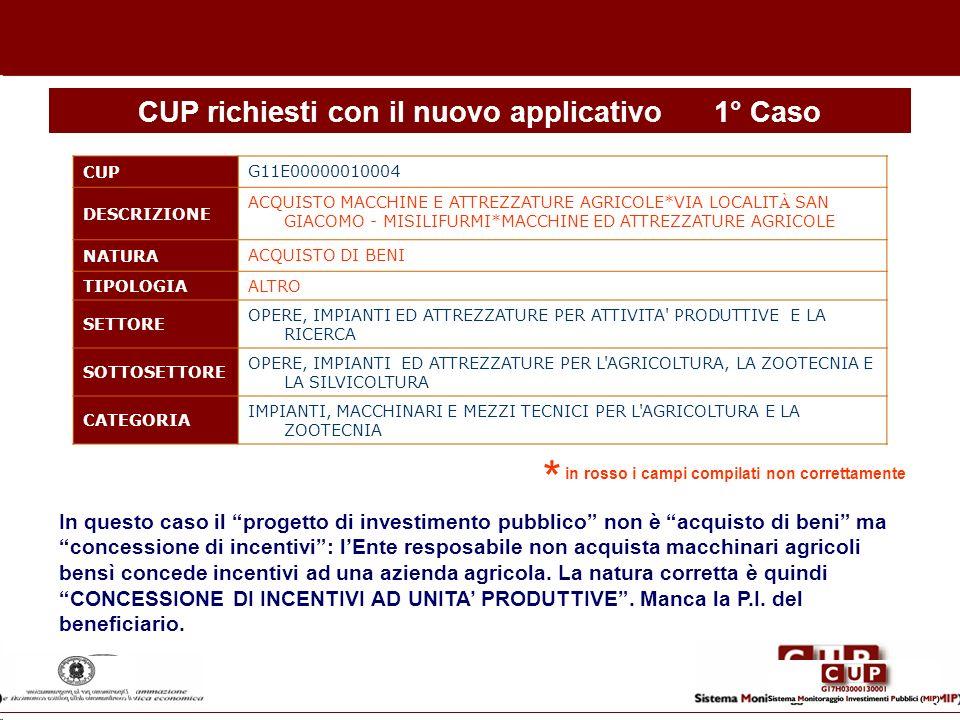 CUP richiesti con il nuovo applicativo 1° Caso