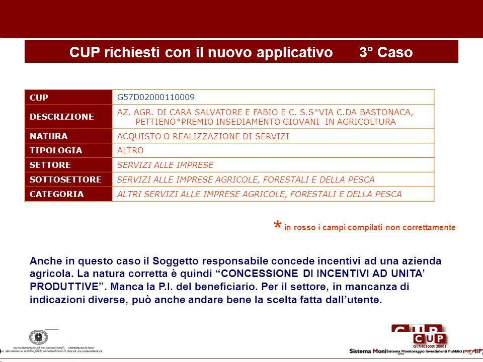CUP richiesti con il nuovo applicativo 3° Caso