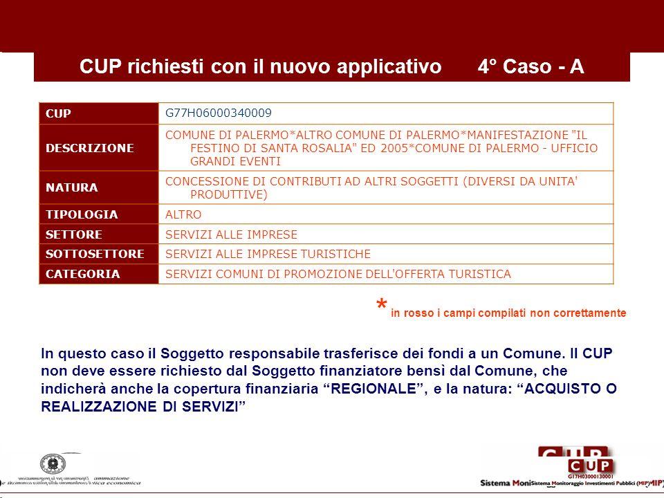 CUP richiesti con il nuovo applicativo 4° Caso - A
