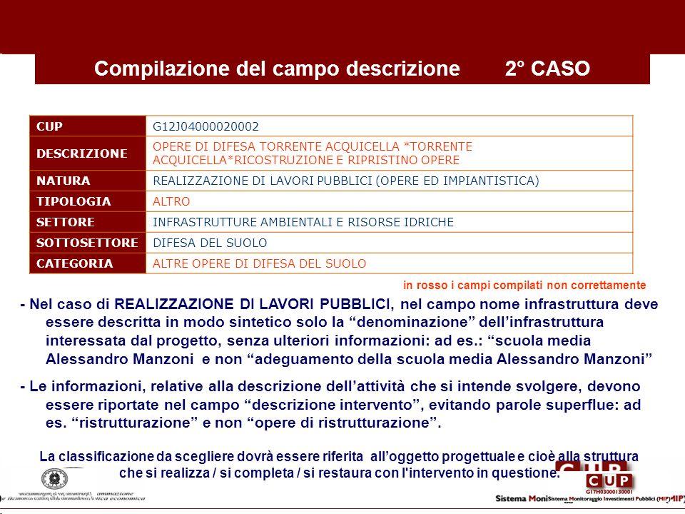 Compilazione del campo descrizione 2° CASO