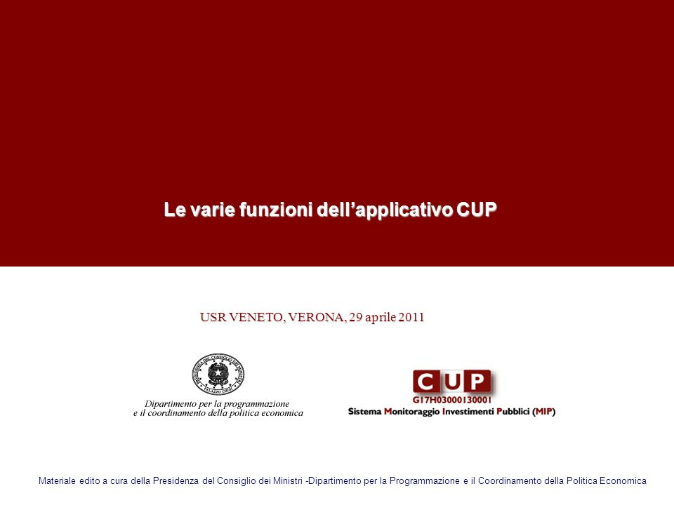 Le varie funzioni dell'applicativo CUP