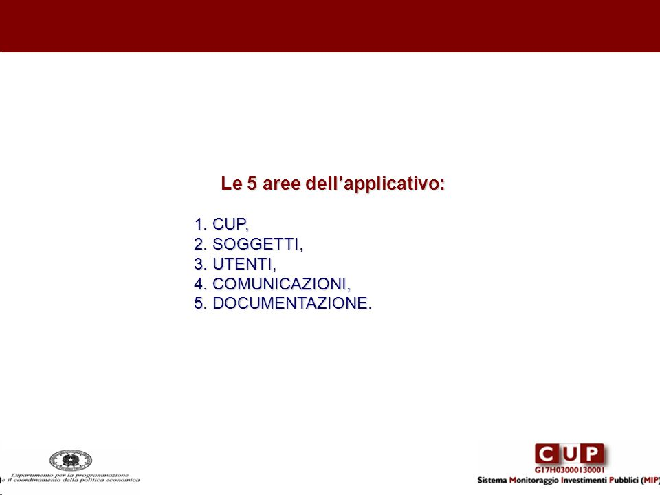 Le 5 aree dell'applicativo: