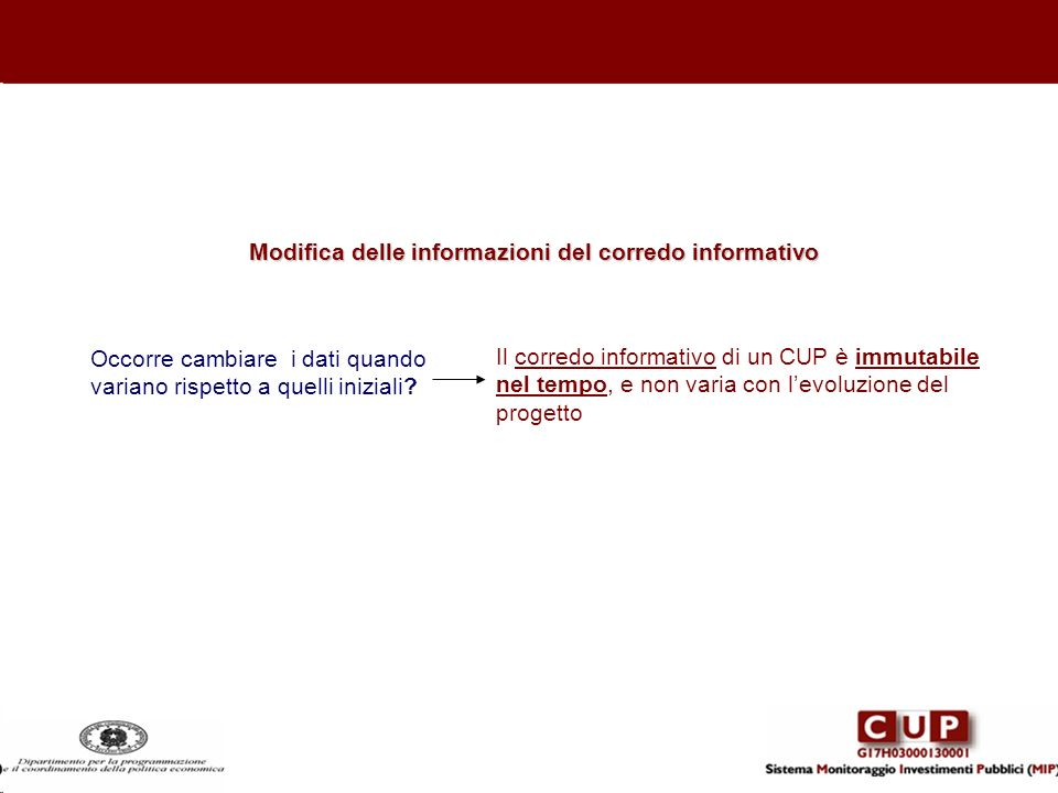 Modifica delle informazioni del corredo informativo