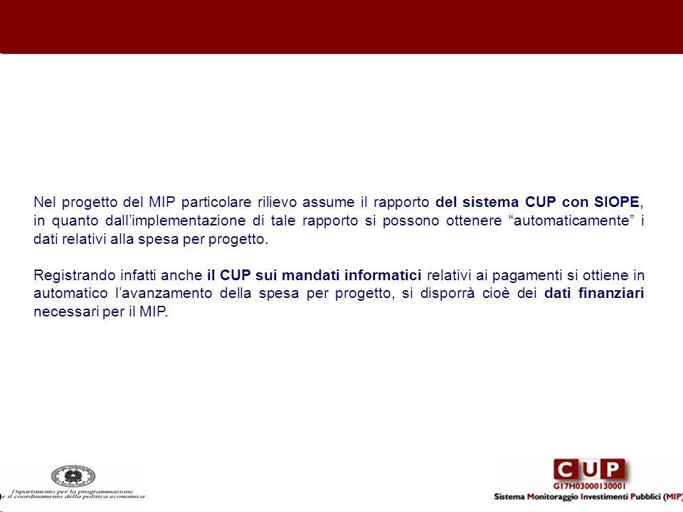 Nel progetto del MIP particolare rilievo assume il rapporto del sistema CUP con SIOPE, in quanto dall'implementazione di tale rapporto si possono ottenere automaticamente i dati relativi alla spesa per progetto.