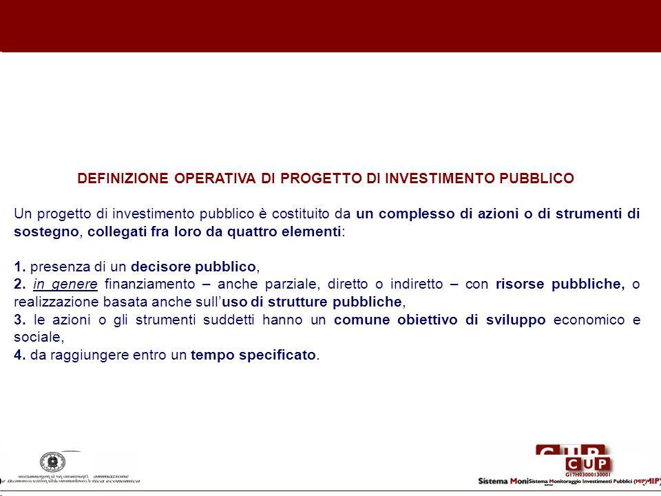 DEFINIZIONE OPERATIVA DI PROGETTO DI INVESTIMENTO PUBBLICO