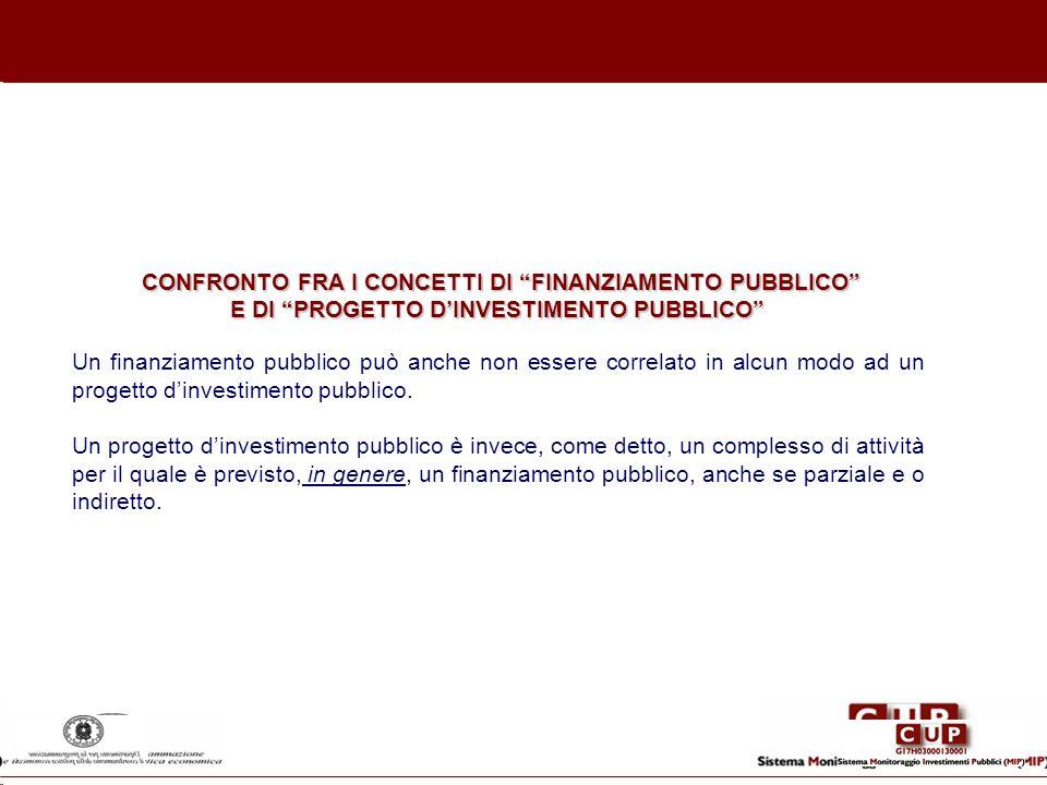 CONFRONTO FRA I CONCETTI DI FINANZIAMENTO PUBBLICO