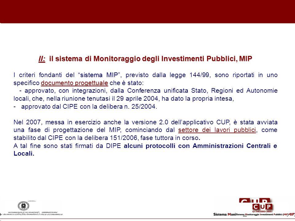 II: il sistema di Monitoraggio degli Investimenti Pubblici, MIP