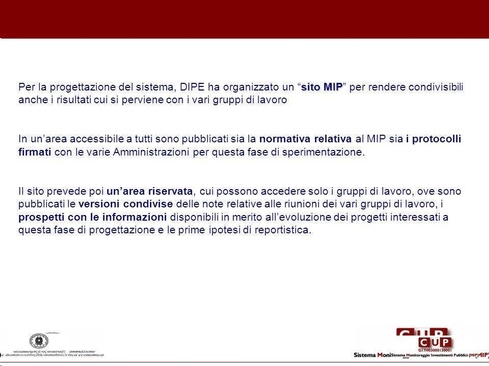 Per la progettazione del sistema, DIPE ha organizzato un sito MIP per rendere condivisibili anche i risultati cui si perviene con i vari gruppi di lavoro In un'area accessibile a tutti sono pubblicati sia la normativa relativa al MIP sia i protocolli firmati con le varie Amministrazioni per questa fase di sperimentazione.