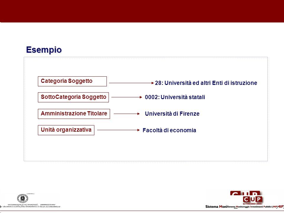 Esempio Categoria Soggetto 28: Università ed altri Enti di istruzione