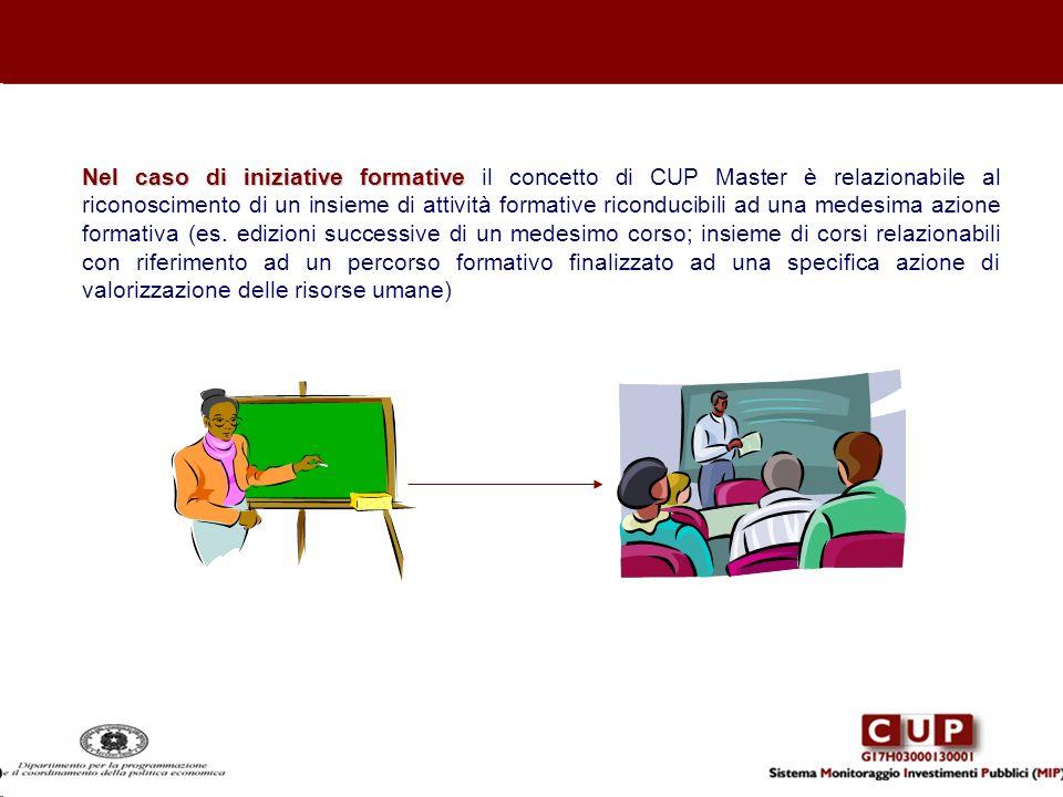 Nel caso di iniziative formative il concetto di CUP Master è relazionabile al riconoscimento di un insieme di attività formative riconducibili ad una medesima azione formativa (es. edizioni successive di un medesimo corso; insieme di corsi relazionabili con riferimento ad un percorso formativo finalizzato ad una specifica azione di valorizzazione delle risorse umane)