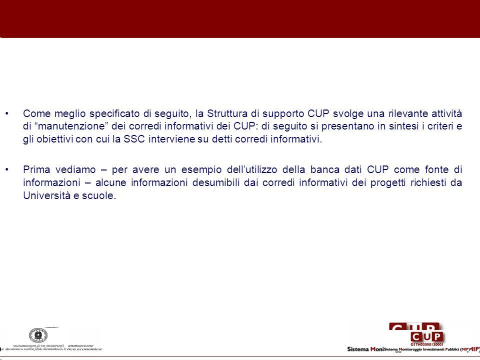 Come meglio specificato di seguito, la Struttura di supporto CUP svolge una rilevante attività di manutenzione dei corredi informativi dei CUP: di seguito si presentano in sintesi i criteri e gli obiettivi con cui la SSC interviene su detti corredi informativi.