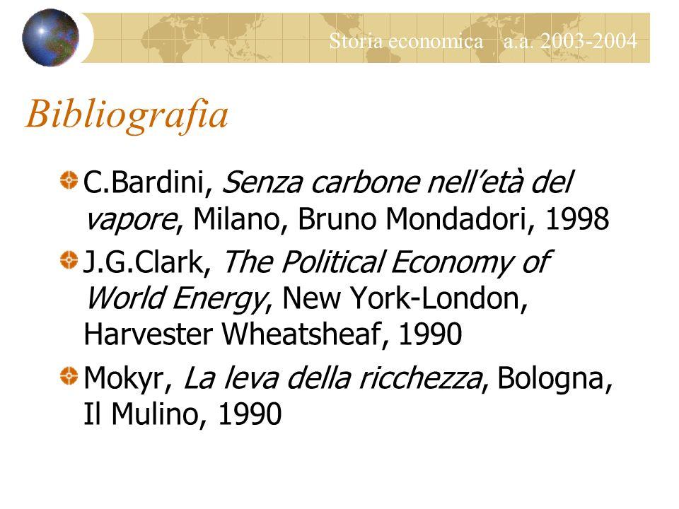 Bibliografia C.Bardini, Senza carbone nell'età del vapore, Milano, Bruno Mondadori, 1998.