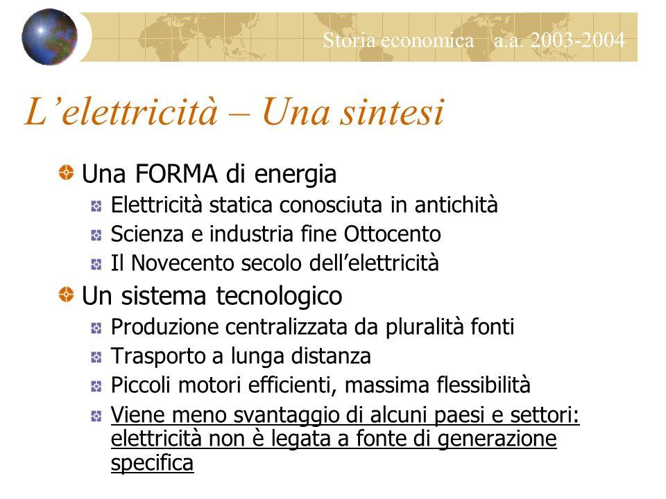 L'elettricità – Una sintesi