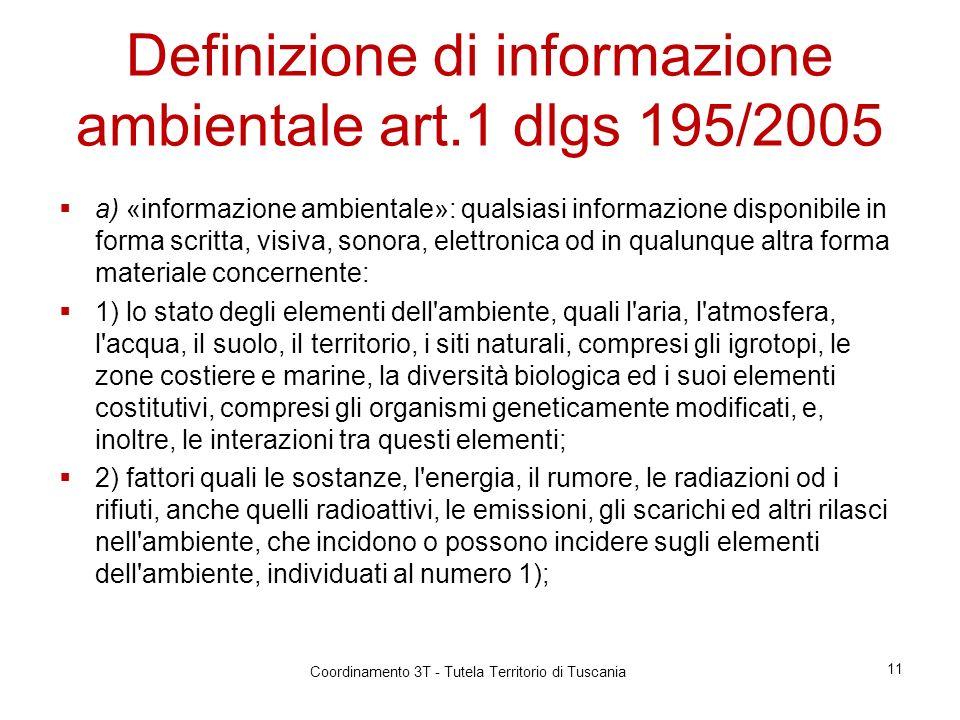 Definizione di informazione ambientale art.1 dlgs 195/2005