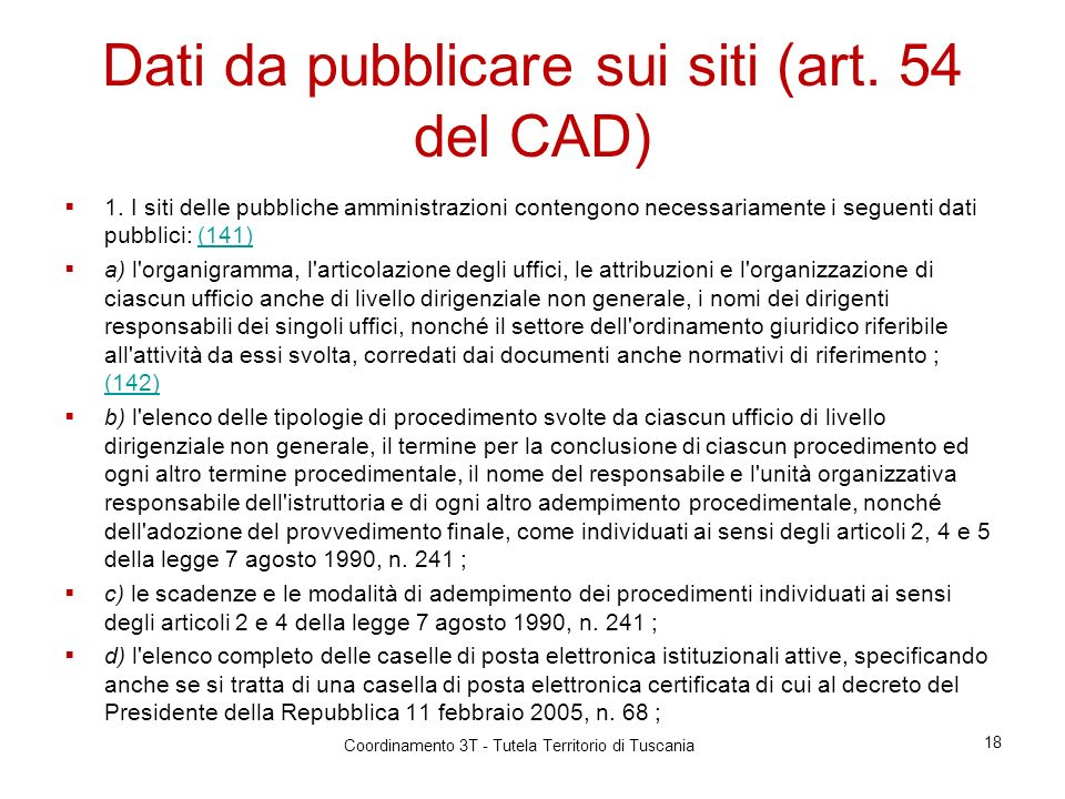 Dati da pubblicare sui siti (art. 54 del CAD)