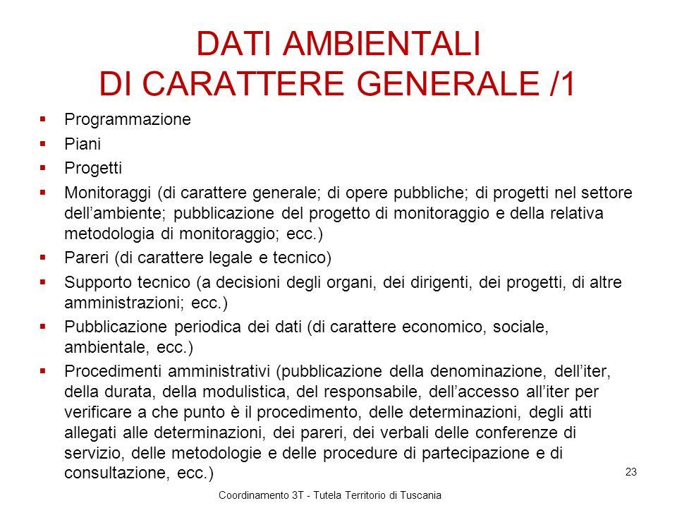DATI AMBIENTALI DI CARATTERE GENERALE /1
