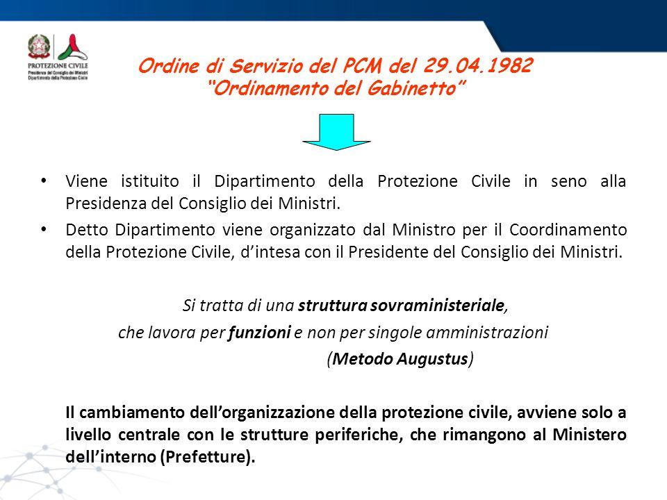 Ordine di Servizio del PCM del 29.04.1982 Ordinamento del Gabinetto