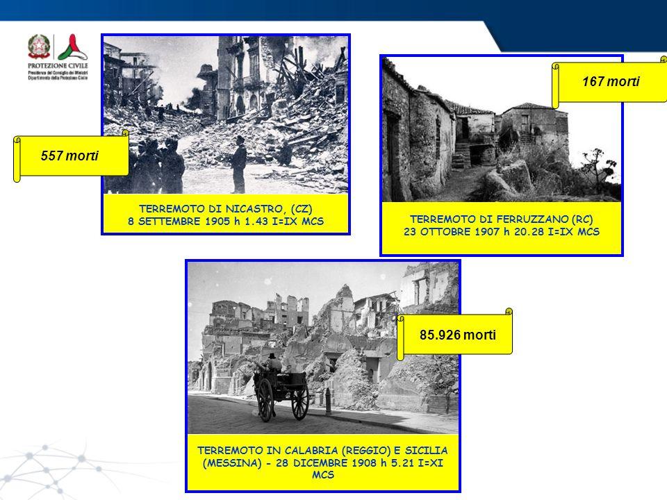 167 morti 557 morti. TERREMOTO DI NICASTRO, (CZ) 8 SETTEMBRE 1905 h 1.43 I=IX MCS. TERREMOTO DI FERRUZZANO (RC) 23 OTTOBRE 1907 h 20.28 I=IX MCS.