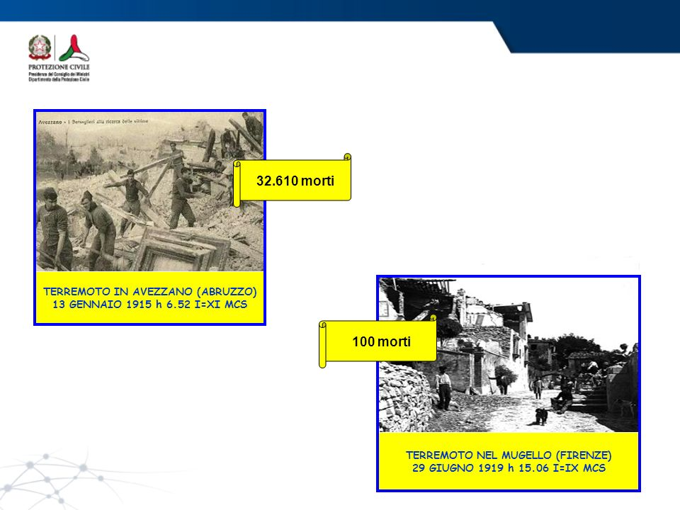 TERREMOTO IN AVEZZANO (ABRUZZO) 13 GENNAIO 1915 h 6.52 I=XI MCS
