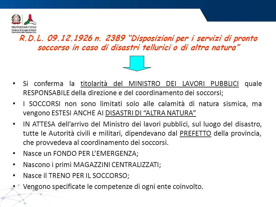 R.D.L. 09.12.1926 n. 2389 Disposizioni per i servizi di pronto soccorso in caso di disastri tellurici o di altra natura