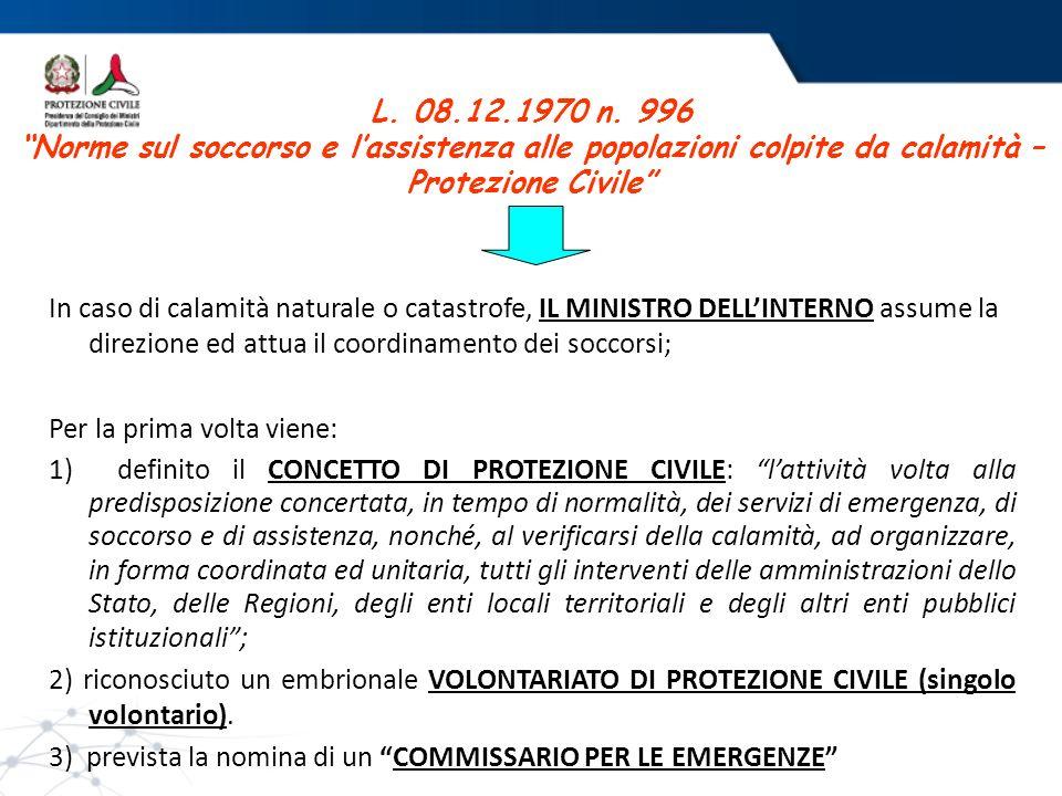 L. 08.12.1970 n. 996 Norme sul soccorso e l'assistenza alle popolazioni colpite da calamità – Protezione Civile