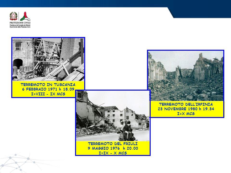 TERREMOTO IN TUSCANIA 6 FEBBRAIO 1971 h 18.09 I=VIII - IX MCS