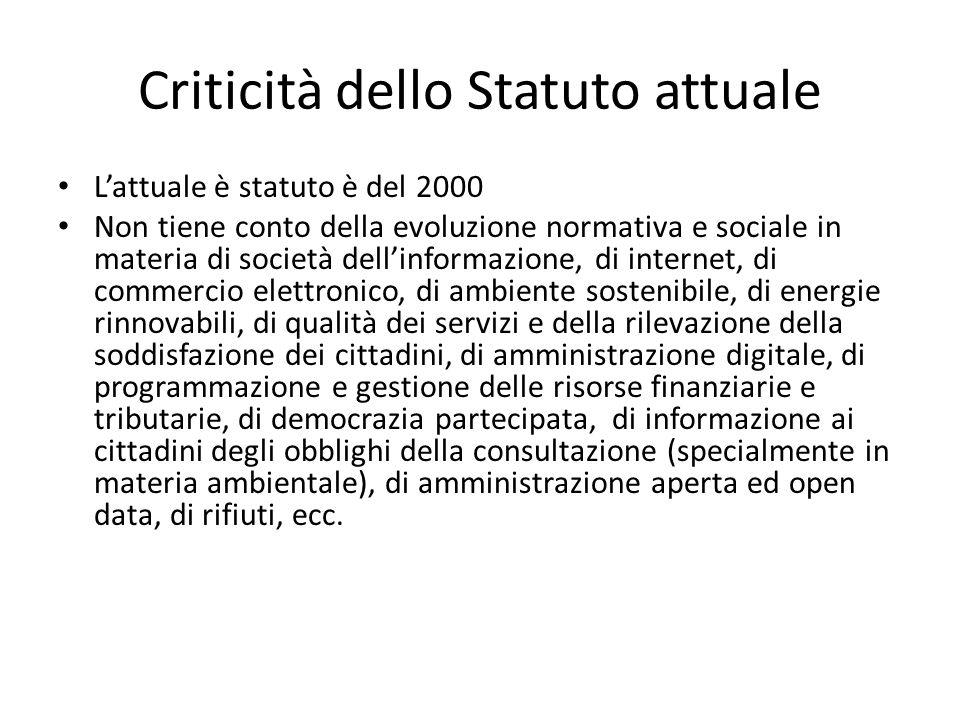 Criticità dello Statuto attuale