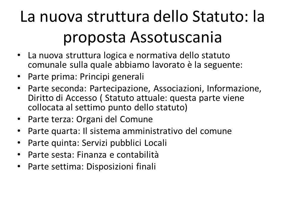 La nuova struttura dello Statuto: la proposta Assotuscania