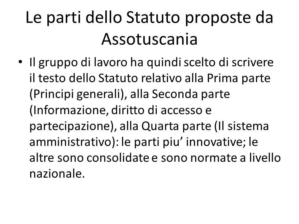 Le parti dello Statuto proposte da Assotuscania