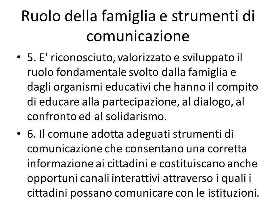 Ruolo della famiglia e strumenti di comunicazione