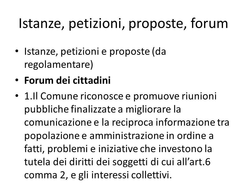 Istanze, petizioni, proposte, forum