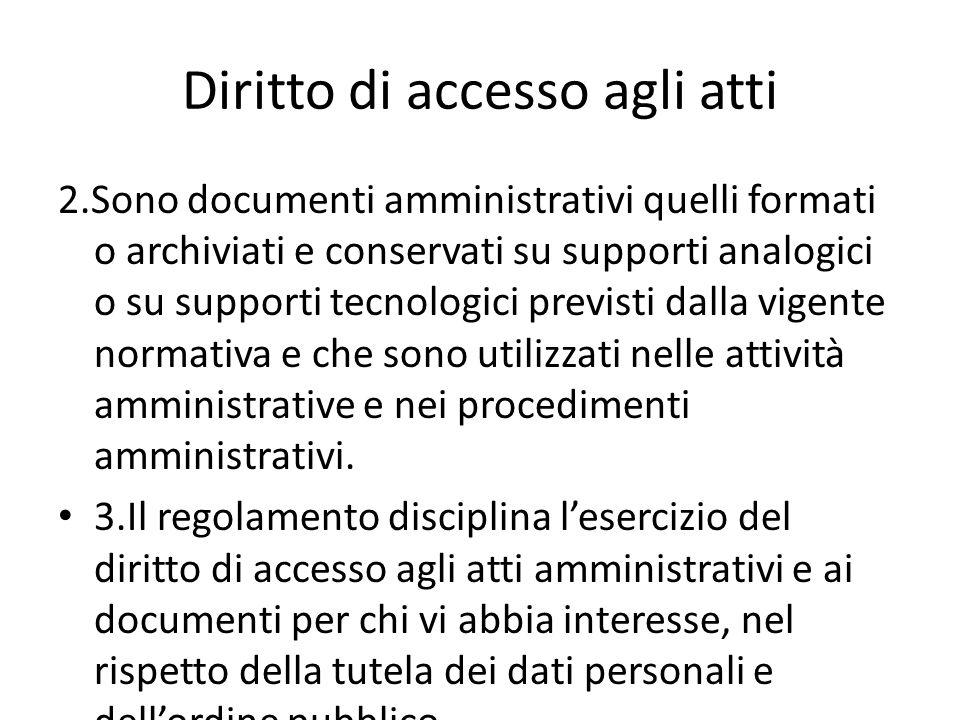 Diritto di accesso agli atti