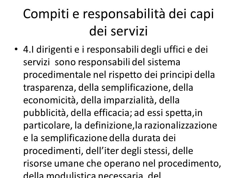 Compiti e responsabilità dei capi dei servizi